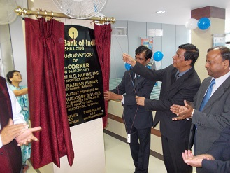 Meghalaya chief secretary WMS Pariat inaugurating the SBI Shillong main branch E-Corner on Wednesday.