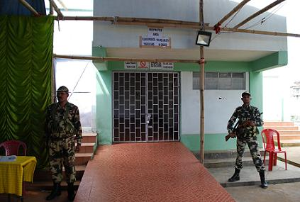 CRPF jawans guarding the strong room where the EVMs are kept in JN complex indoor stadium.