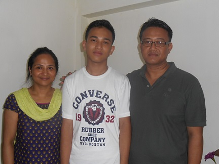 Jeremy M. Sangma with his thrilled parents after the SSLC results