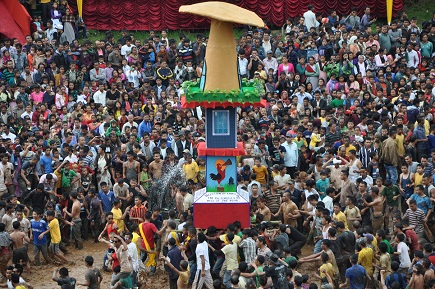 A colourful rath being brought during the culmination ceremony of the annual Behdeinkhlam Festival, 2014, at Aitnar, Jowai, West Jaintia Hills district, 65 km from Shillong, on Wednesday.