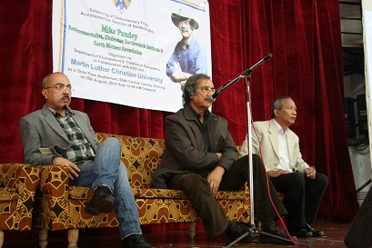 Renowned environment film maker Mike Pandey ( middle) flanked by MLCU vice chancellor RG Lyngdoh (left) and pro vice chancellor Glen Kharkongor during the interactive session on Monday