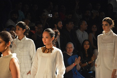 Meriya Subba (center) walk the ramp of the country's biggest fashion extravaganza Lakmé Fashion Week for Reliance Trends in Mumbai