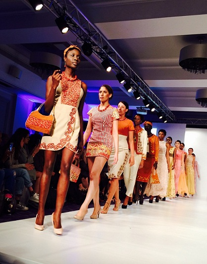Meghalaya's designer Rupert Lynrah design on display during the London Fashion show..........