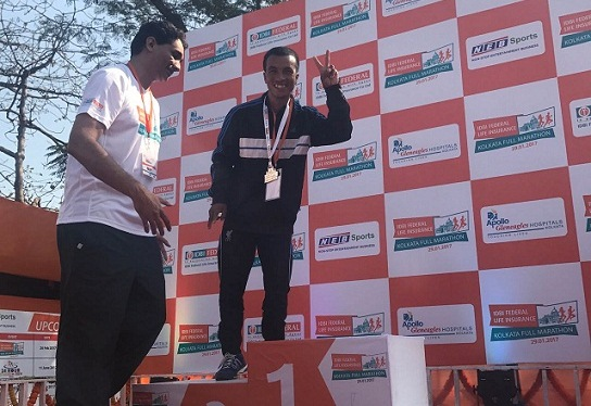 One of the RUNMeghalaya runners who brought laurel to the state during the IDBI Kolkata Marathon