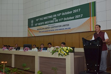 Meghalaya power minister and chairman of NERPC Comingone Ymbon addressing the 18th NERPC meeting attended by power ministers of NE states on Wednesday