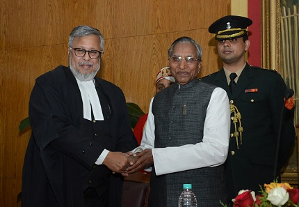 Justice Tarun Agarwala being sworn in as the Chief Justice of the High Court of Meghalaya by the Governor of Meghalaya, Shri Ganga Prasad at the Durbar Hall, Raj Bhavan, Shillong on Monday